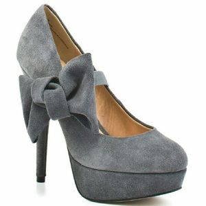 Kelsi Dagger Grey Suede Tiffany Heels With Bow